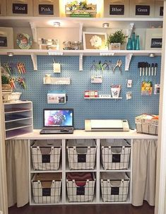 Awesome 48 Beautiful Diy Craft Room Ideas For Small Spaces. More at trendecorist… Craft Room Design, Craft Room Decor, Craft Room Storage, Pegboard Storage, Painted Pegboard, Craft Room Lighting, Craft Room Shelves, Pegboard Craft Room, Closet Craft Rooms