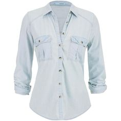 maurices Chambray Button Down Shirt In Light Wash ($12) ❤ liked on Polyvore featuring tops, shirts, blouses, blusas, light denim, button up chambray shirt, maurices, boyfriend top, chambray boyfriend shirt and button top