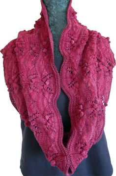 Raspberries Cowl by Laura Patterson - lacy cowl with bobbles knit in the round in Bijou Bliss