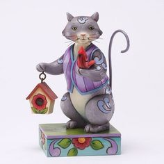 2012 Jim Shore Cats, Love Creatures Great & Small - Cat with Cardinal Figure (Pre-Order Item. Mid-November Delivery)