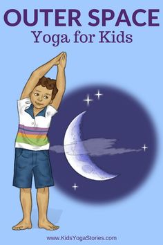 Looking for fun kids yoga class ideas? This collection of yoga ideas is for your home, classroom, or studio. Each theme has 5 books + 5 yoga poses for kids. Preschool Yoga, Space Preschool, Preschool Activities, Social Activities, Preschool Curriculum, Kindergarten, Solar System Activities, Space Activities For Kids, Outer Space Crafts For Kids