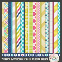 FREEBIE ALERT! Welcome Summer Papers (elements available too, pinned previously)!  Akizo has some of the coolest freebies ever!  Head on over to her blog and check this one out, plus much more!!!!