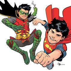 Super sons. Robin & Super Boy. Damian Wayne & Jon Kent.