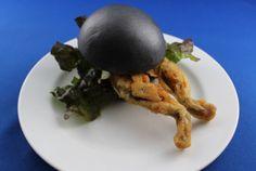 Orbi Yokohama's Black Burger Bun Encases Deep-Fried Frog Meat #unique trendhunter.com