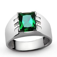 1d5bfae81 MENS EMERALD RING with GENUINE DIAMONDS in Solid 925 Sterling Silver all sz  | eBay. Blue Topaz RingSapphire RingsRuby RingsGold ...