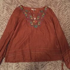 Brown 3 quarter sleeve blouse Brown blouse with floral designs on the collar Tops Blouses