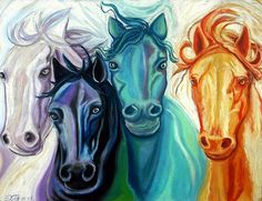 """Patrolling"". This painting is in response to the passage in Zechariah 1 that talks about the horses being sent out to the four corners of the earth to give a report of its condition. The colors of these horses represent the four elements; wind, earth, water and fire."