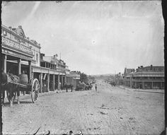 FitzMaurice St,Wagga Wagga in the Riverina region of New South Wales in 1870s,looking north towards Bridge Hotel.