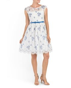 Belted+Floral+Lace+Dress