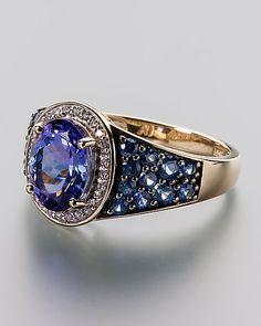 Tansanit-Saphir-Ring