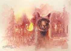 Watercolor Sunset, Sunset Art, Watercolor Art, Original Paintings, Original Art, Watercolor Paintings For Beginners, Famous Artwork, Farm Art, Animal Paintings