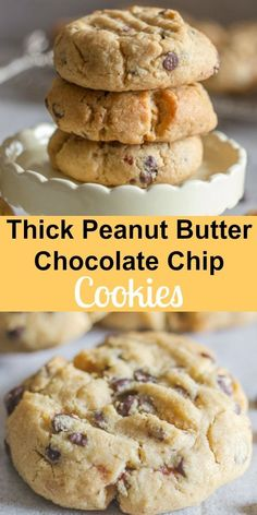 Thick Peanut Butter Chocolate Chip Cookies, the best Peanut Butter Cookies you will make or eat. Made with loads of chocolate chips and deliciously thick. More from my sitePeanut Butter Chocolate Chip Cookies Best Peanut Butter Cookies, Peanut Butter Chips, Peanut Butter Recipes, Peanutbutter Chocolate Chip Cookies, Peanut Butter Chocolate Chip Cookies Recipe, Köstliche Desserts, Delicious Desserts, Dessert Recipes, Easy Cookie Recipes