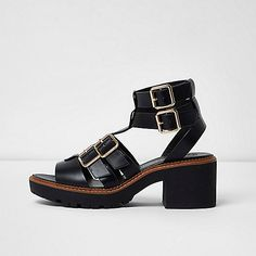 Black multi buckle strap gladiator sandals - sandals - shoes / boots - women