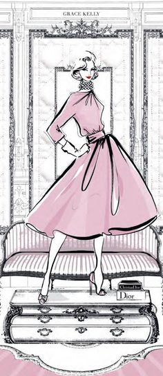 The Dior Room by Megan Hess Disney Characters, Fictional Characters, Simple, Disney Princess, Pink, Illustration, Ideas, Beauty, Art