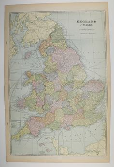 Antique England Map Vintage Old UK Map of England Wales 1902 United Kingdom Unique Christmas Gifts Under 25 Gifts for Home Cyber Monday Sale by OldMapsandPrints