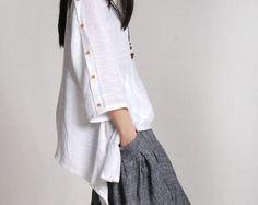 Women sundress plaid t-shirt linen tops short sleeve tee