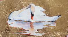 Gold Leaf Swan Study by Sue ChurchGrant watercolor and gold leaf ~ x 10 Gold Leaf Art, Gold Art, Eagle Art, Mini Canvas Art, Beautiful Fantasy Art, Arte Popular, Painting Inspiration, New Art, Modern Art