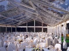 Clear roofs can be overlayed with fairy lights for added effects and depth Tipi Wedding, Wedding Engagement, Rustic Wedding, Our Wedding, Wedding Stuff, Marquee Wedding Receptions, Clear Marquee, Daisy Hill, Fairy Lights