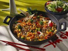 Reis-Gemüse-Pfanne mit Scampi ist ein Rezept mit frischen Zutaten aus der Kategorie Garnelen. Probieren Sie dieses und weitere Rezepte von EAT SMARTER!