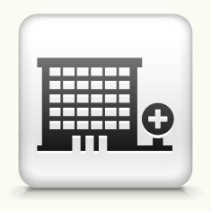 Square Button with Hospital vector art illustration