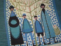 Vintage Textile Eames Era Swedish Family Goes For a Walk Signed. $24.99, via Etsy.