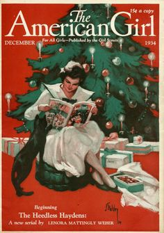 """""""The American Girl"""" magazine cover from December 1934 (art by Joseph Stahley)…"""
