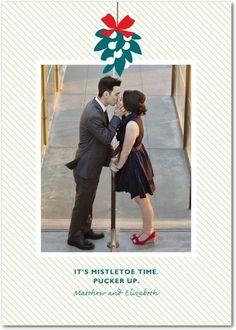 Flat Holiday Photo Cards Mistletoe Time - Front : Sage