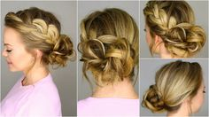 A french braid, pulled loose slightly, and finished in a messy bun that would be perfect for a night out, school dance, or formal occasion! -----------------...