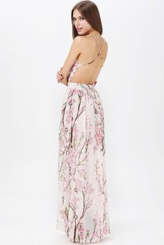 Apricot Spaghetti Strap Backless Florals Print Maxi Dress US$39.98