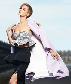 """""""My inspiration for this season was drama and volume and playing with fun ruffle details."""" Australian Designer Toni Maticevski, modelled by Jennifer Hawkins"""