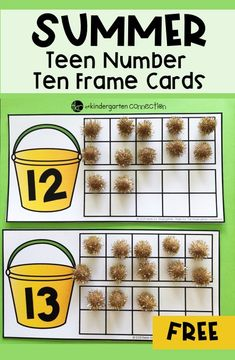 FREE Summer Teen Number Ten Frame Cards for Kindergarten Numbers Kindergarten, Kindergarten Math Worksheets, Preschool Math, Math Resources, Math For Kids, Fun Math, Summer Activities For Kids, Teaching Teen Numbers, Ten Frame Activities