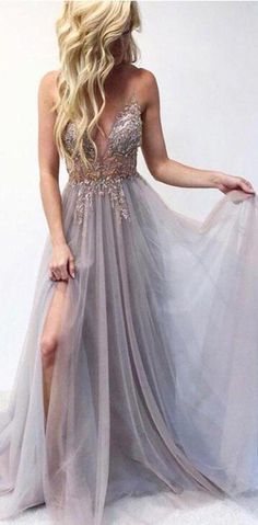 Gray v neck evening dresses tulle lace long prom dress a line cheap formal gowns Prom Dresses For Teens, V Neck Prom Dresses, Cheap Prom Dresses, Sexy Dresses, Evening Dresses, Long Dresses, Summer Dresses, Wedding Dresses, Party Dresses