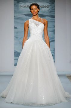 A beautiful one shoulder wedding dress by Mark Zunino, 2015