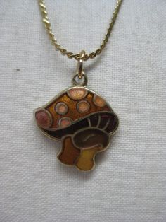 Mushroom Gold Brown Necklace Vintage by vintagejewelryalcove, $7.50