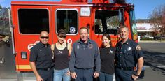 Jessica and Stephanie with some of the fire fighters from Station 89 in Agoura Hills.