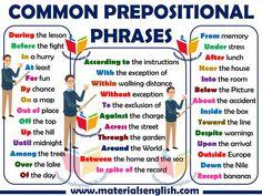 Common Prepositional Phrases in english Learn English Words, English Phrases, English Lessons, Teaching English Grammar, English Language Learning, English Prepositions, English Vocabulary, Sms Language, Language Arts