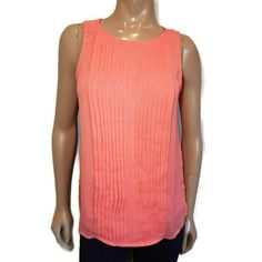 Banana Republic Pleated Sleeveless Top Womens Size Small Pink Orange Sheer Slit #BananaRepublic #Basic #PartyCocktail Sheer Chiffon, Banana Republic, Blouses, Orange, Pink, Shirts, Tops, Fashion, Moda
