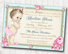 Baby Shower Invitation Angel Shabby Chic Roses por jjMcBean