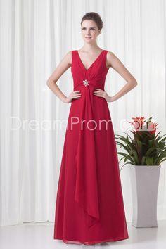 Bridesmaid Dresses/Prom Dresses/Evening Dresses A-Line V-Neck Sleeveless Empire Zipper Floor-Length Chiffon Draping