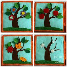 Handmade cloth quiet busy book for Sergio, season tree, развивающая книжка