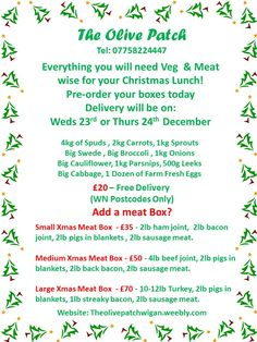 Meat & Veg Boxes - Christmas Orders Now Being Taken - #wigan   http://theolivepatchwigan.weebly.com/christmas-meat--veg-box---order-form.html