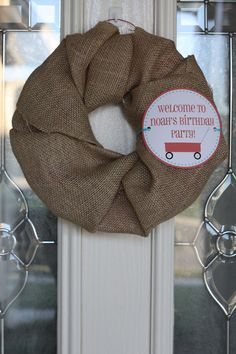 using burlap to make wreath...with a one and football theme