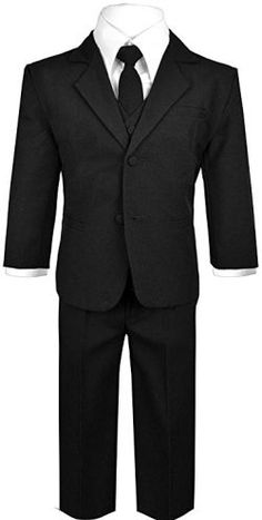 Baby Boys Black Suit and Tie with Vest Outfit Size Months) 5 6 7 Boys Black Blazer, Boys Black Suit, Black Suits, Boss Baby Costume, Baby Costumes, Black And White Baby, Baby Suit, Boys Suits, Vest Outfits
