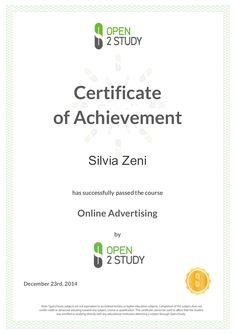 La certificazione del corso sulla pubblicità online di Open2Study  #O2S #OLAD #onlineadvertising #webmarketing