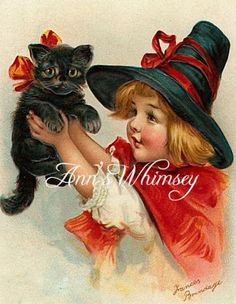 """HALLOWEEN Vintage Print - Antique Restored 1920s Print - The Perfect Halloween Print -- Black Cat and Charming Little """"Witch"""" by annswhimsey for $12.00"""