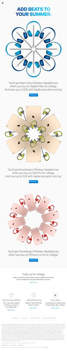 Apple sent this email with the subject line: Buy an eligible Mac, iPad, or iPhone for college. Get Beats - Read about this email and find more e-commerce emails at ReallyGoodEmails.com #ecommerce #productsale #productupdate #retention