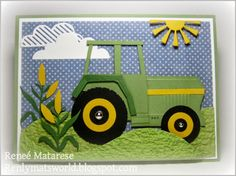 Renlymat's World: John Deere birthday card.  Handmade paper pieced tractor, farm card.  clouds, sun, corn