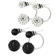 Stainless Steel Bling Bling Double Rhinestones Crystal Fireball Disco Ball Front Back Hoop Stud Earrings >>> See this great product.