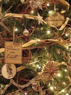 DIY Ornaments: Handcraft your own ornaments. RMSer greeneyedmom makes pretty, yet simple, ornaments from old paperback books and sheet music. Hand-dyed ribbon and vintage ornaments tie in to the rustic quality of her handmade decorations. Design by RMSer greeneyedmom.