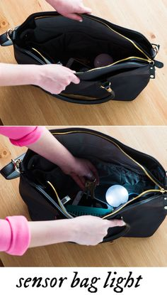 This purse light  turns on when it senses your hand. No more blindly rummaging through your purse or backpack to find keys, wallet, or a pen.